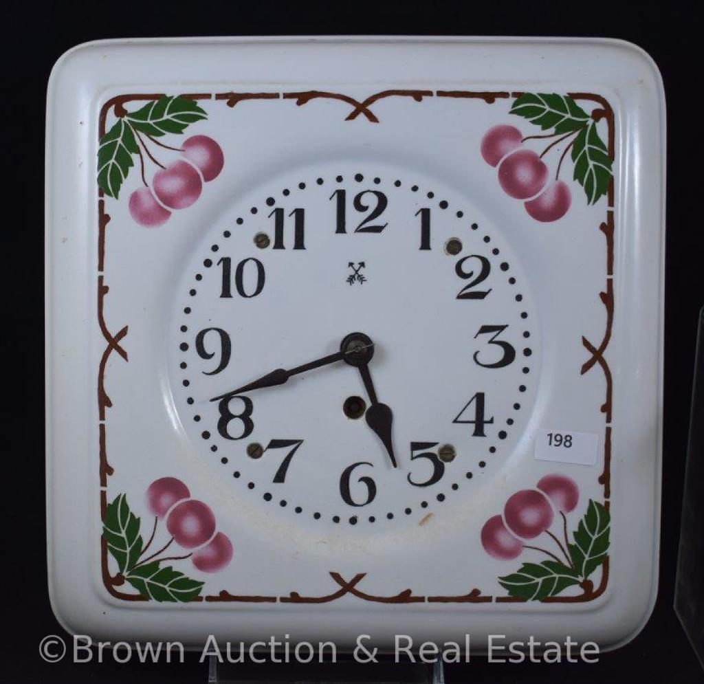 "Porcelain 10"" sq. dia. Clock decorated with cherries, black crossed swords mark"