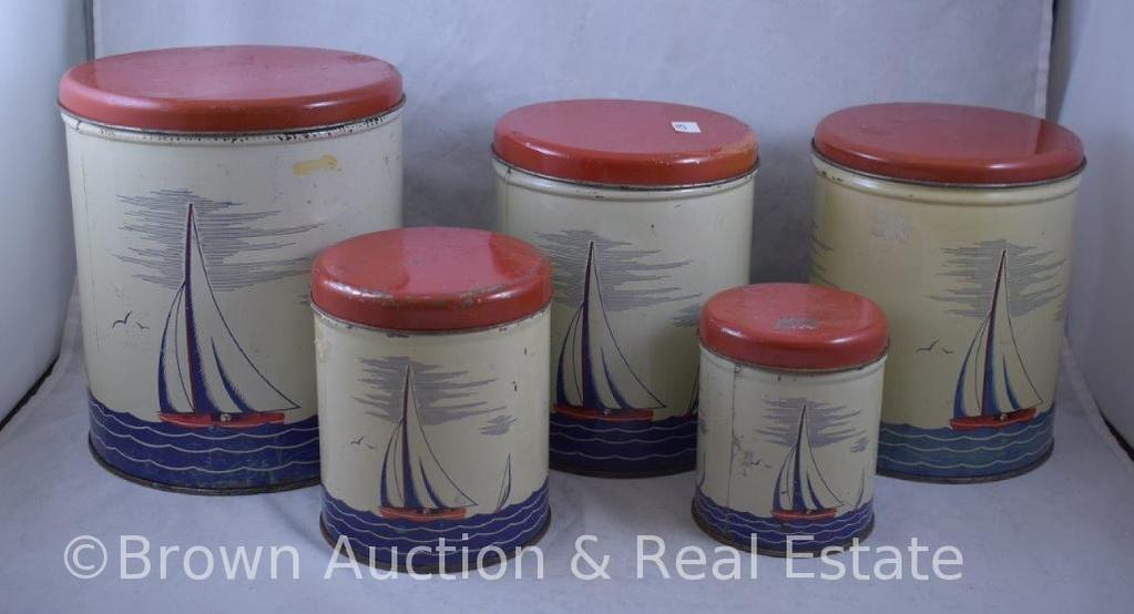 Vintage 4 pc. Sailboats tin litho canister set