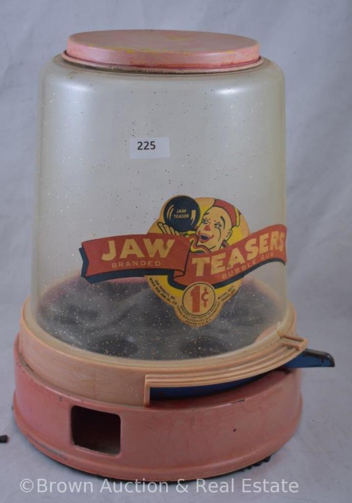 "Plastic 1 cent ""Jaw Teasers"" vending machine - Good graphics"