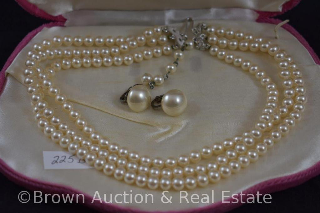Pearl 3-strand choker necklace and earrings