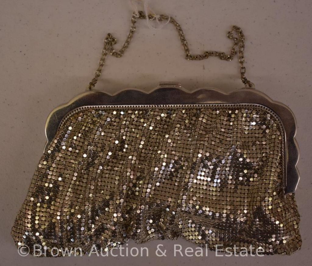Whiting and Davis silvertone mesh bag with rhinestone clasp