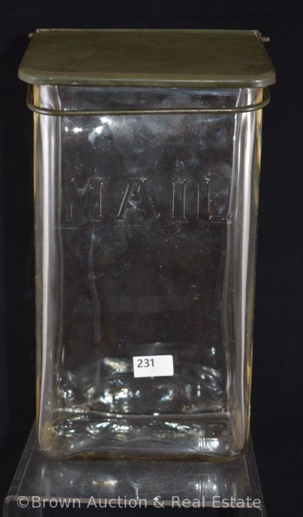 "Vintage rectangular glass wall mount ""Mail"" box with lid"