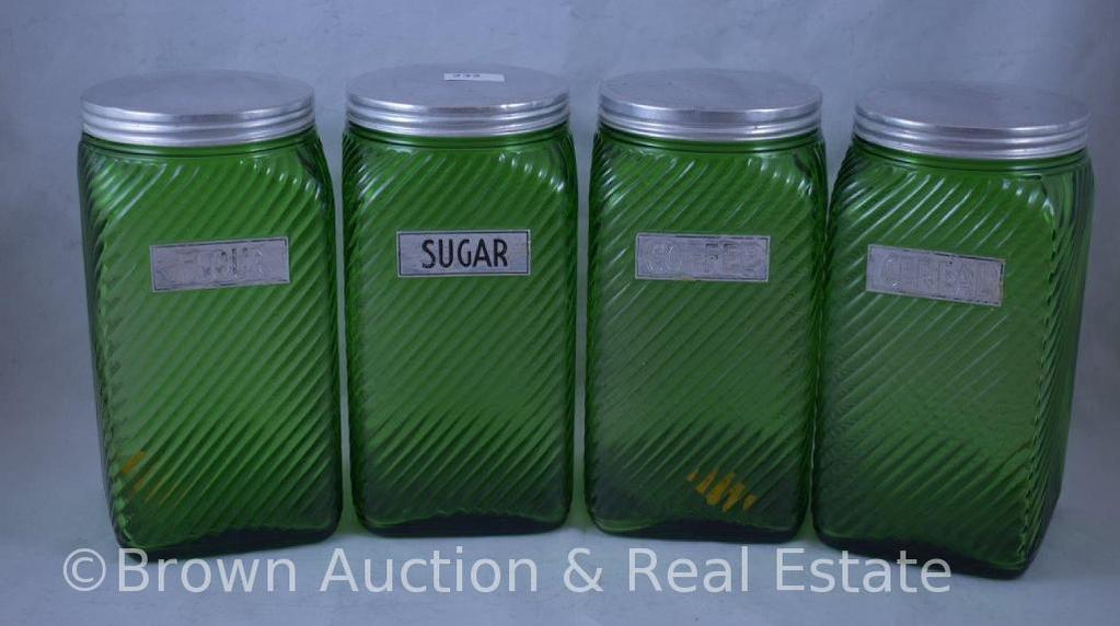 4 pc. Green Depression Swirl canister set