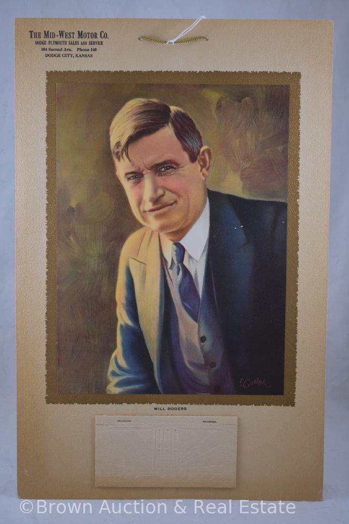 "Will Rogers cardboard 1936 advertising calendar, Dodge-Plymouth Sales, Dodge City, KS, 17"" x 11"""