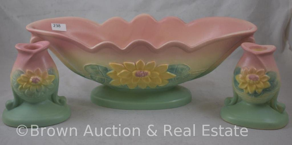 """Hull Water Lily Console Set: L-21-13.5"""" console bowl and (2) L-22-5""""candleholders, cream/rose/green"""