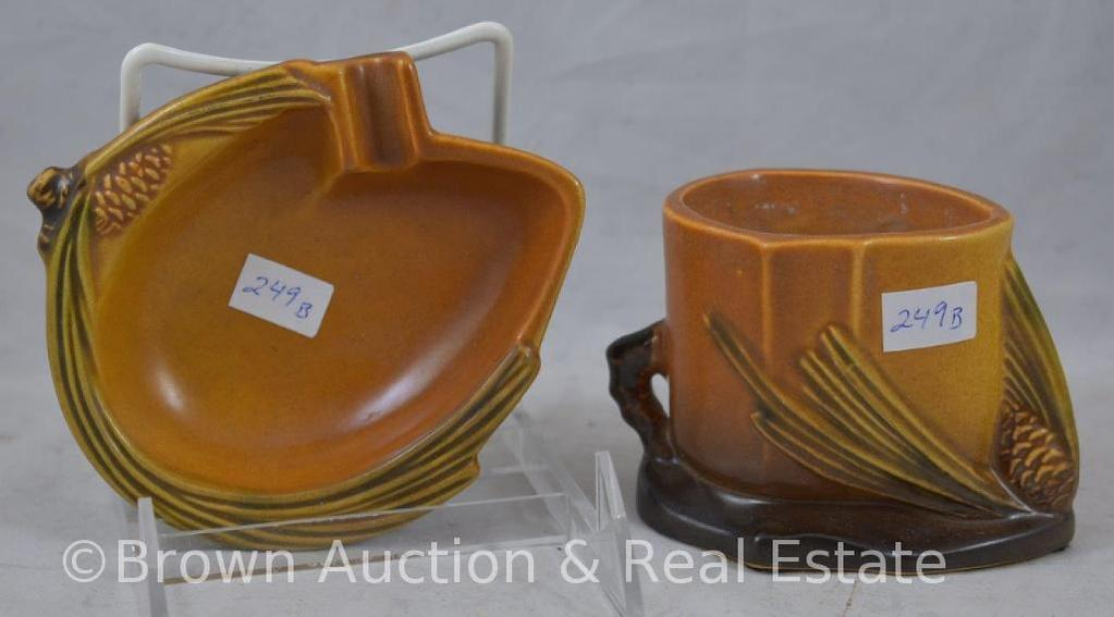 (2) Roseville brown Pine Cone pieces: #499 ash tray; #498 match stick holder