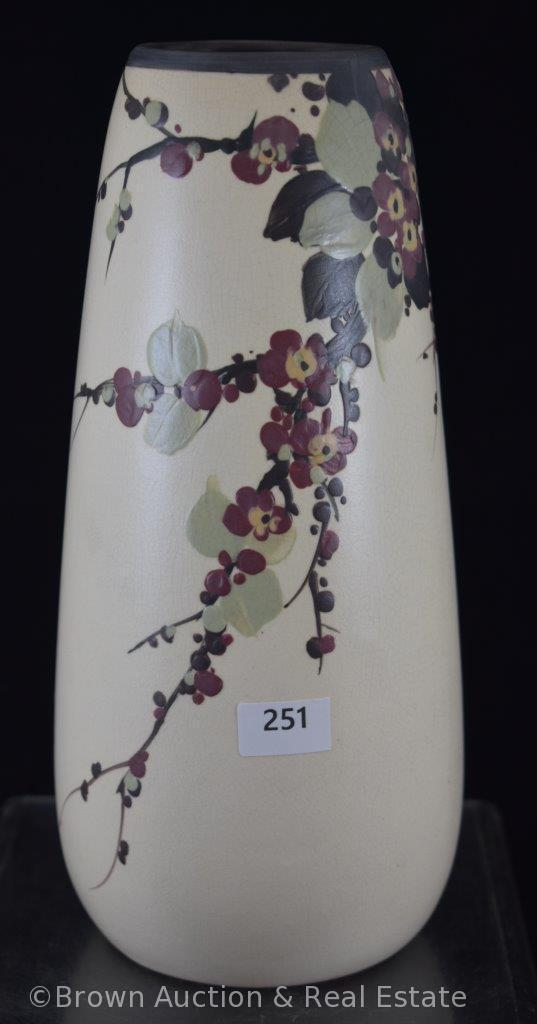 """Weller Hudson 9"""" vase, cherry blossoms on white"""