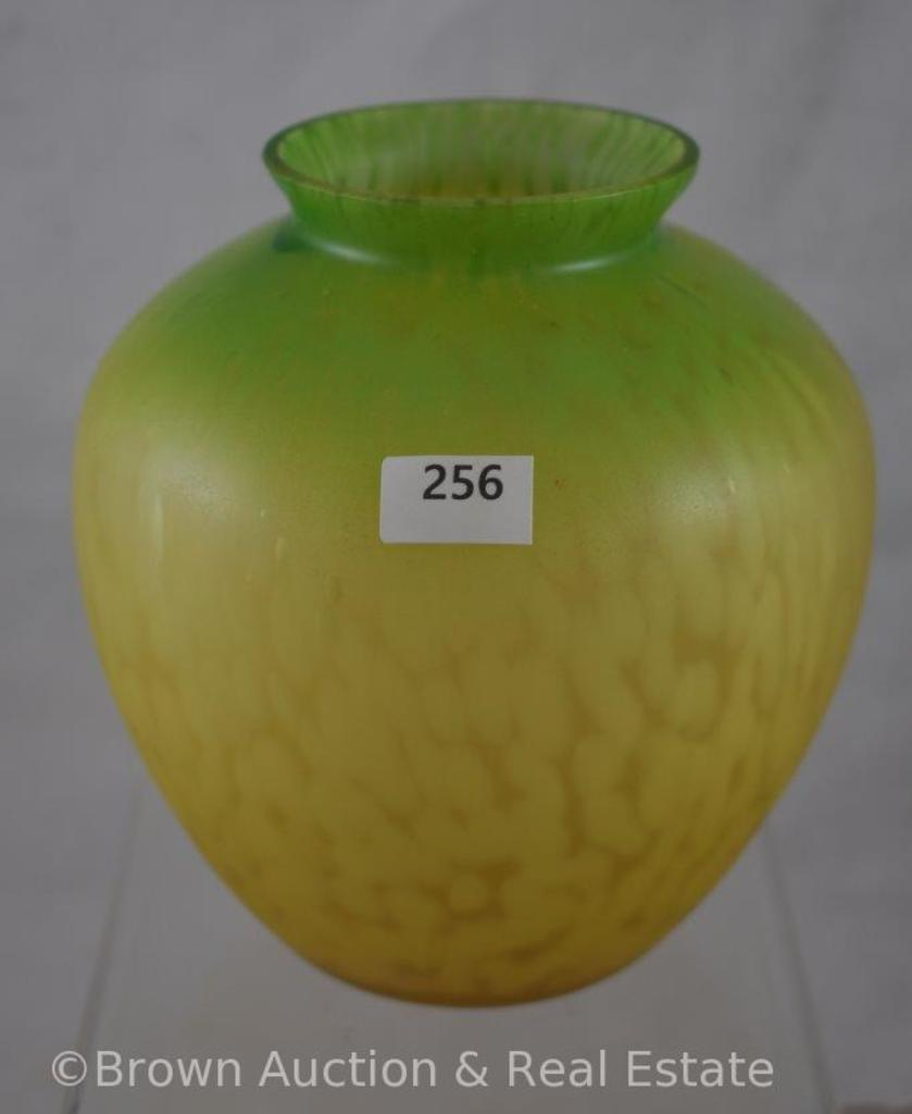 """Hand-blown glass vase, 6""""h, yellow to green mottled design"""