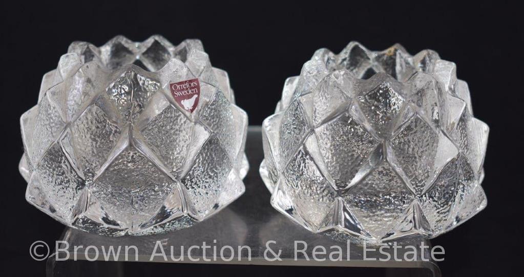 Pr. Orrefors Sweden Artichoke Crystal votive candleholders, paper label