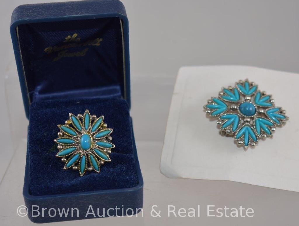 Matching turquoise ring and brooch