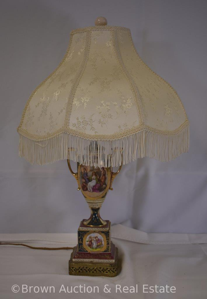 "Handpainted porcelain 27"" tall table lamp, Classical scenes"
