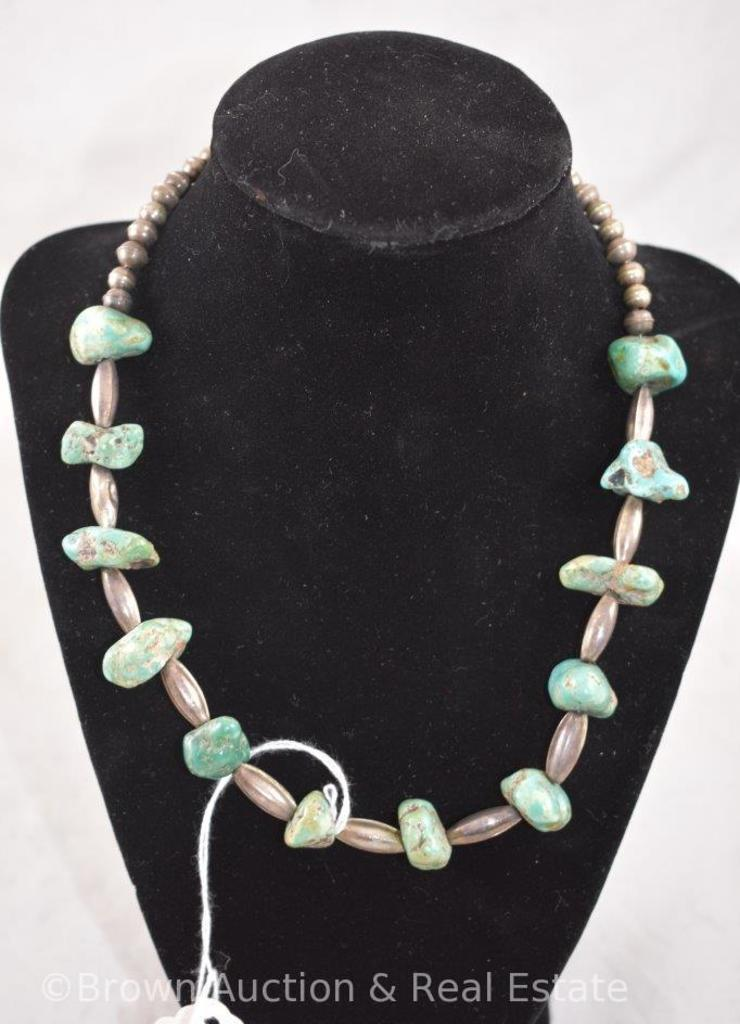 Native American Silver and turquoise nugget shell necklace