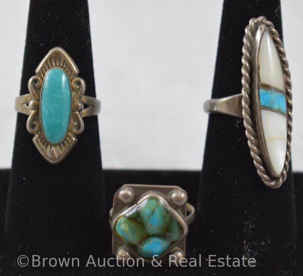 (3) Turquoise rings - sizes 6-7