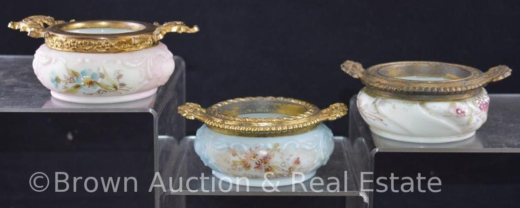 (3) Wavecrest vanity pin or trinket box, all decorated with flowers and have gold gilt collars with