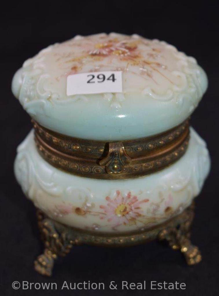 "Mrkd. Wavecrest 4""h lt. blue and white dresser box, pink flowers, fancy gold gilt ftd. base and"