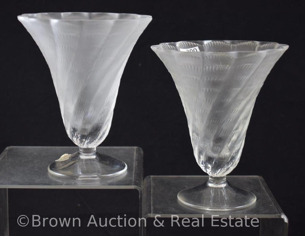 """Pr. Lalique France frosted glass/pedestal base 6""""h fluted vases with scalloped edge, paper label"""