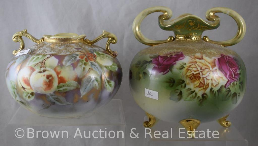 """(2) Mrkd. Nippon vases : 5"""" tall; 8"""" tall"""