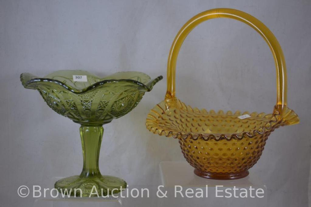 "Fenton amber Hobnail basket and Imperial Glass 7""h green compote"