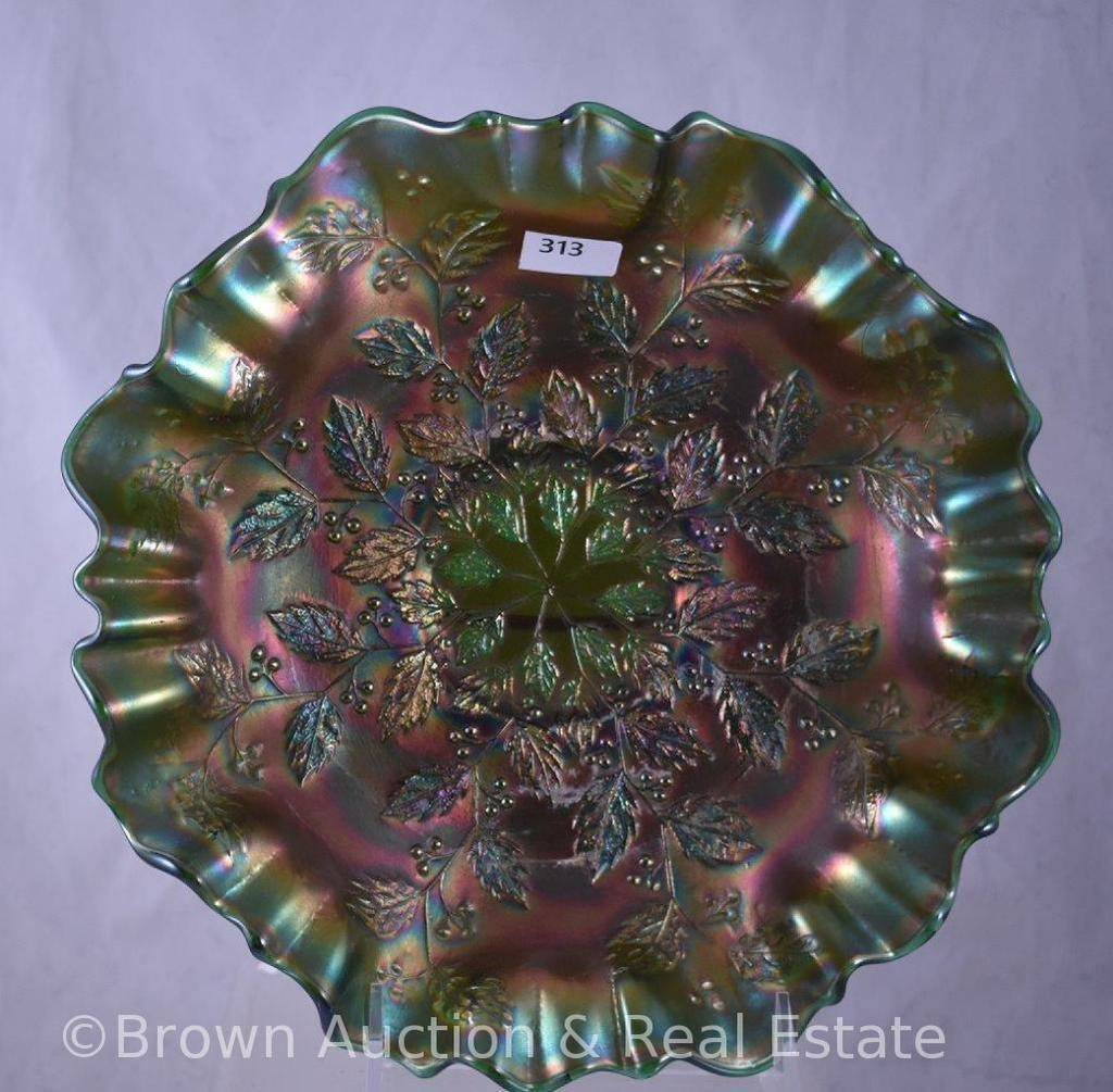 """Carnival Glass Holly 9"""" bowl with 3-in-1 edge, green"""