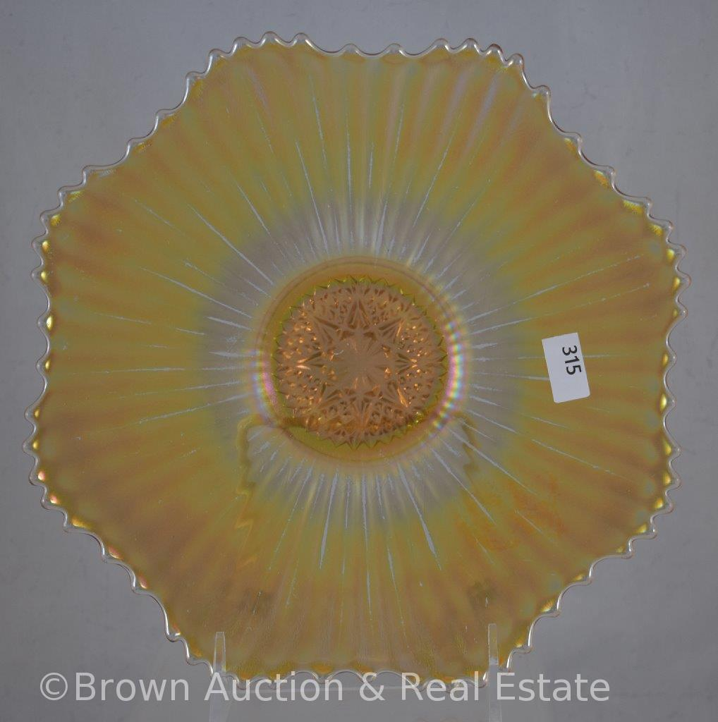 """Carnival Glass Rays 9""""d plate with star center, marigold"""