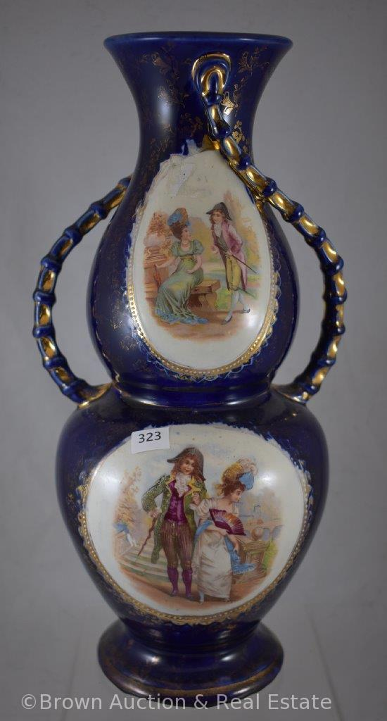 "Mrkd. Royal Faience 13""h cobalt vase, Victorian courting couple scenes"