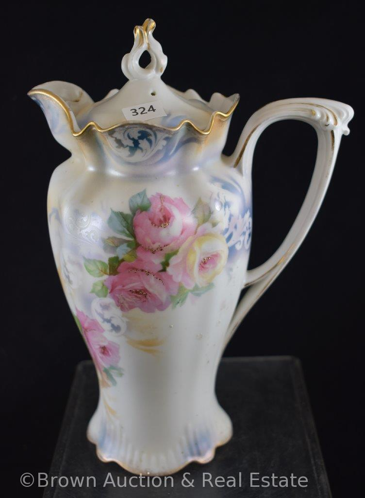 "R.S. Prussia Mold 508 9""h chocolate pot, pink and white flowers on white satin finish"