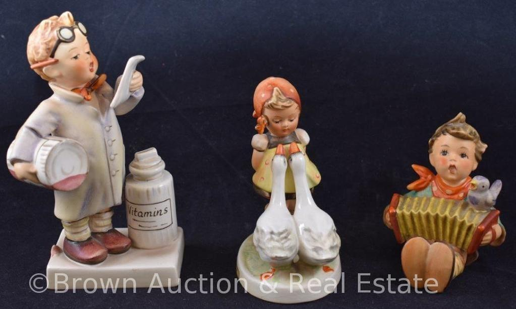 """(3) Hummel figurines: 3""""-5.5"""" tall, 50's, 60's and 70's marks"""