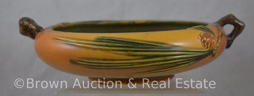 """Roseville Pine Cone 354-6"""" bowl, brown (repaired handle)"""