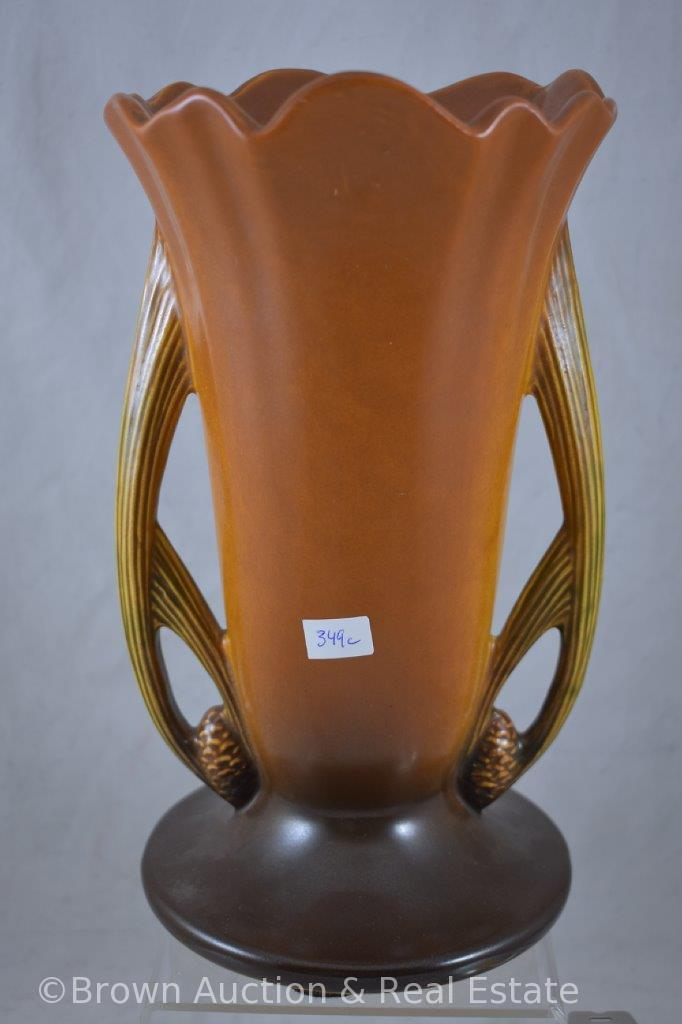 "Roseville Pine Cone 491-10"" vase, brown (top rim chip)"
