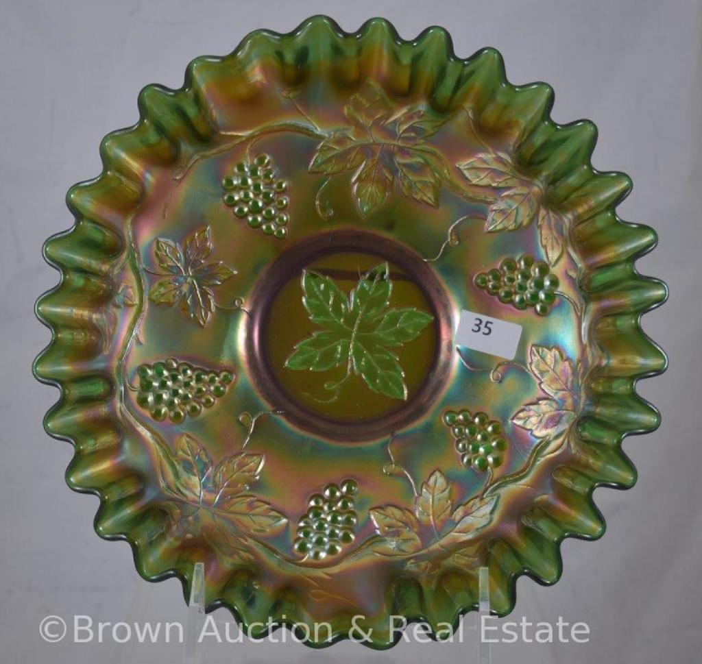 "Carnival Glass Vintage Leaf 8.5""d bowl, candy ribbon edge, green"