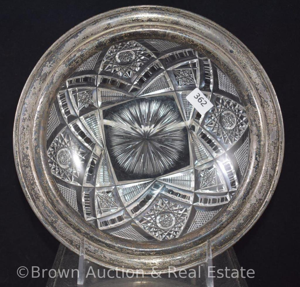 """Cut Glass bowl with silver rim (possible Sterling), 8""""d"""
