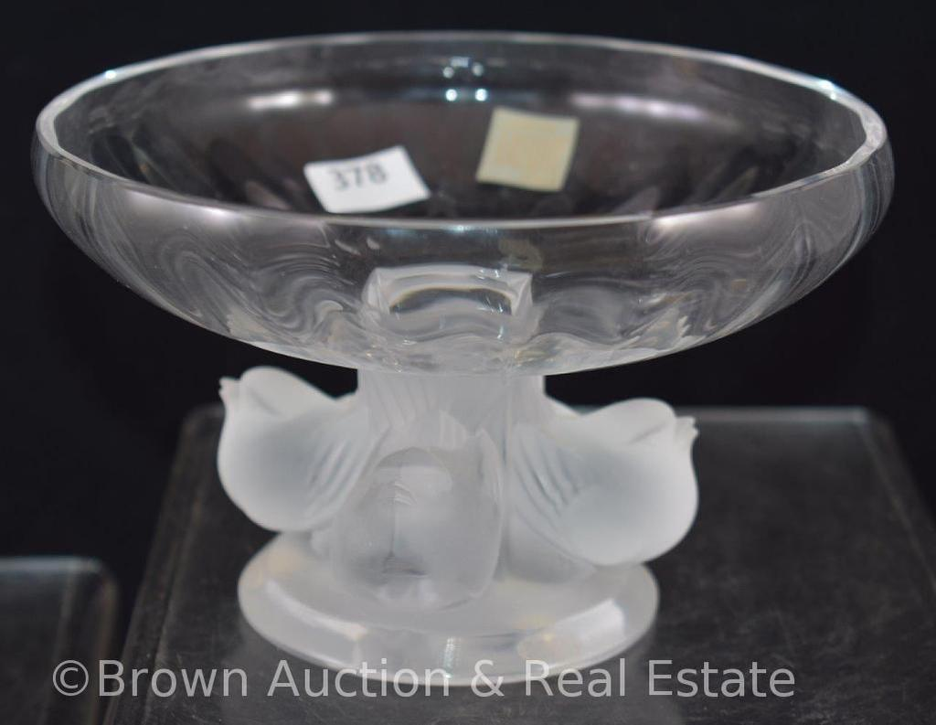 """Signed Lalique France 3.5""""h compote with 4 sparrows base, paper label"""