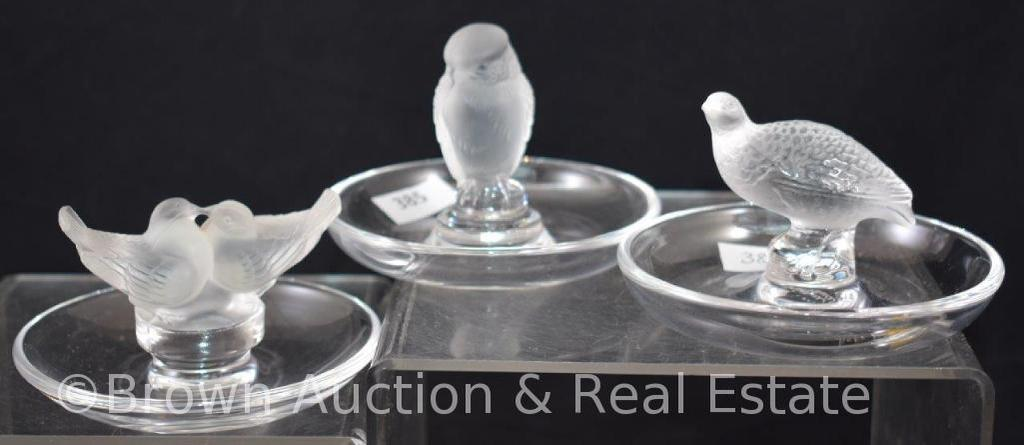 (3) Signed Lalique France bird ring holders