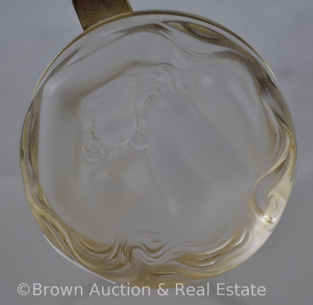 """Signed Lalique France """"Daphne"""" powder box, 3""""d x 2""""h"""