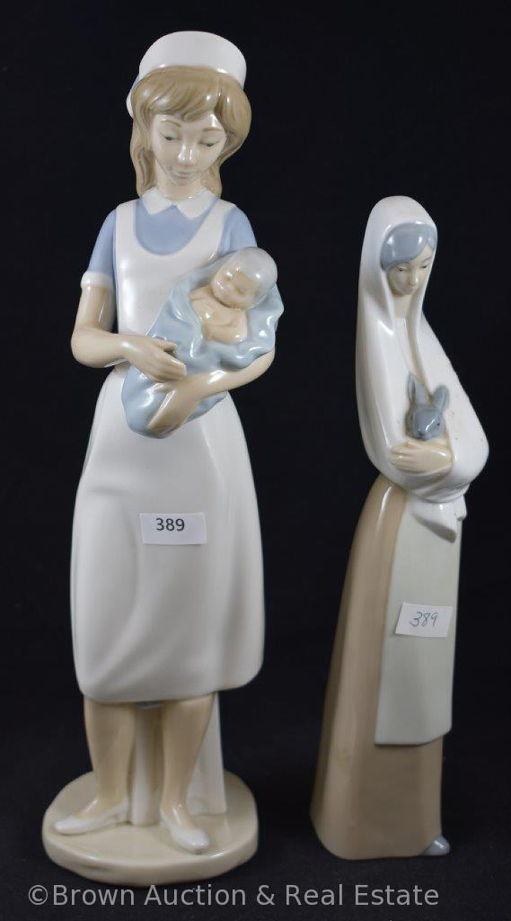 (2) NAO porcelain figurines made by Lladro: Nurse holding baby and Girl with rabbit