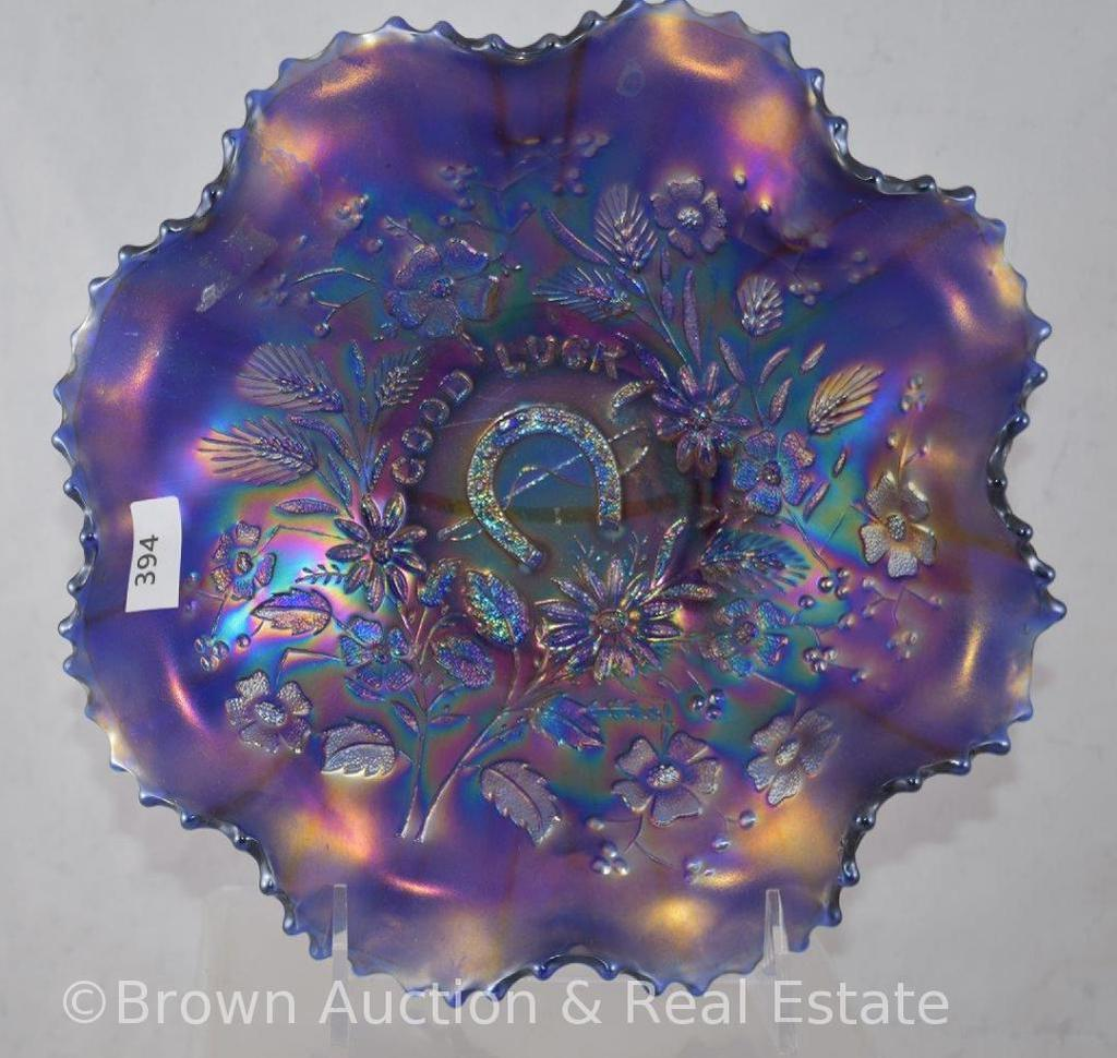 "Carnival Glass Good Luck 9""d bowl, cobalt with great iridescence"