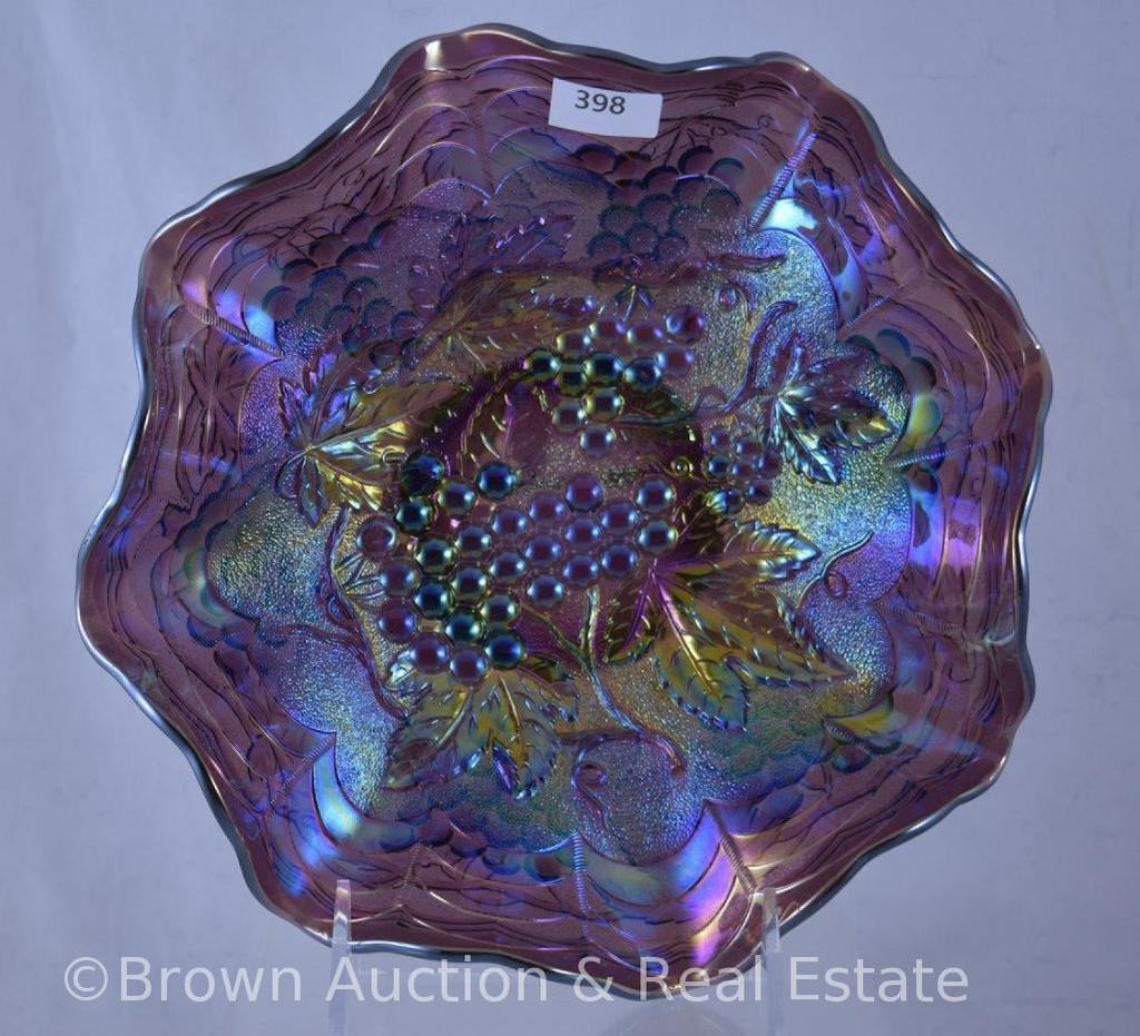 "Carnival Glass Heavy Grape 9""d bowl, purple"
