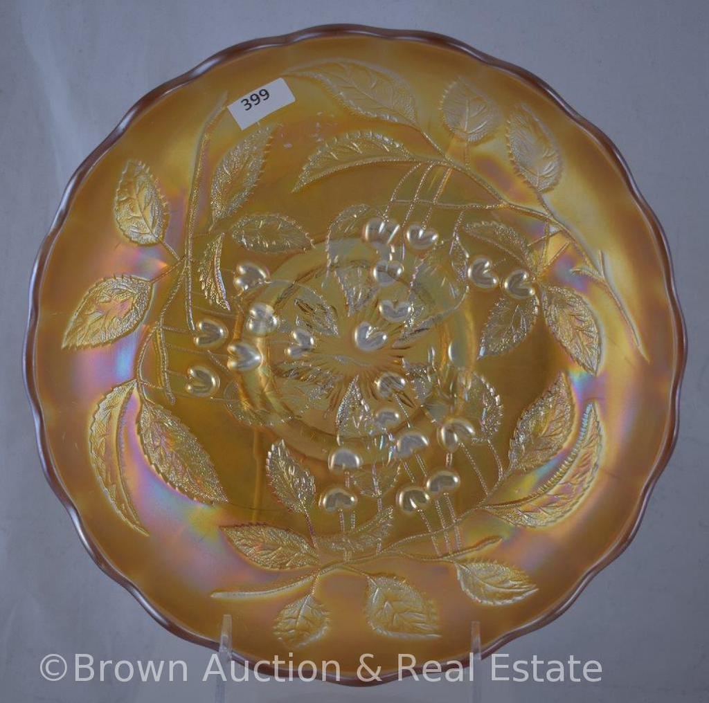 "Carnival Glass Cherry (Millersburg) 10""d ice cream shape bowl, marigold"