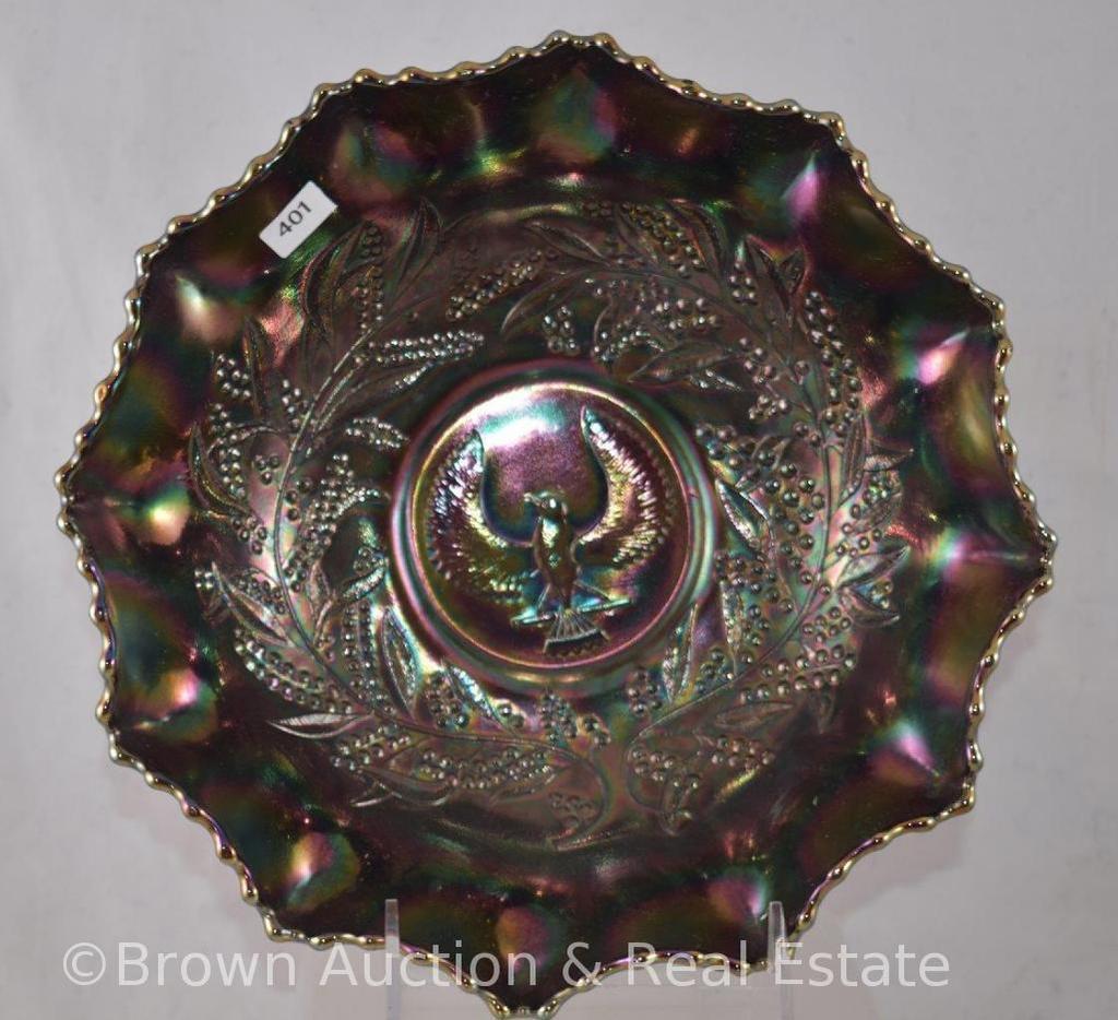"""Carnival Glass Australian Thunderbird/Shrike 9.5""""d bowl, purple"""