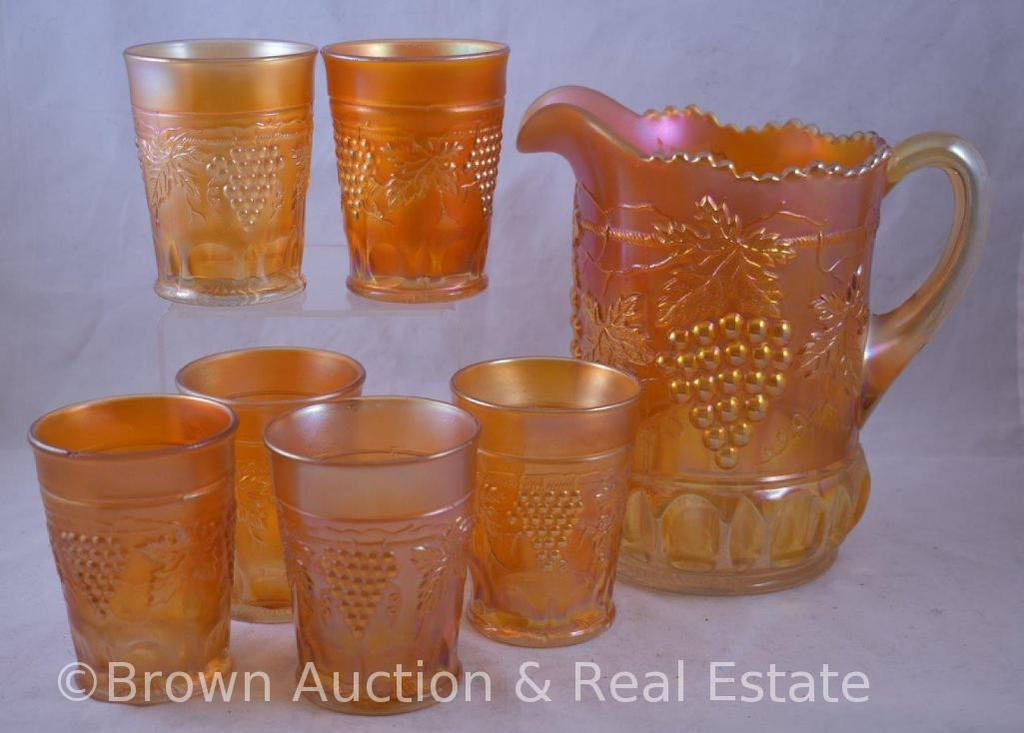 Carnival Glass Grape and Cable 7 pc. Water set, marigold
