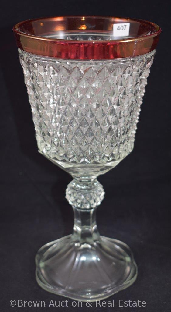 """Indiana Glass Diamond Point ruby-stain 11""""h ftd. Chalice"""