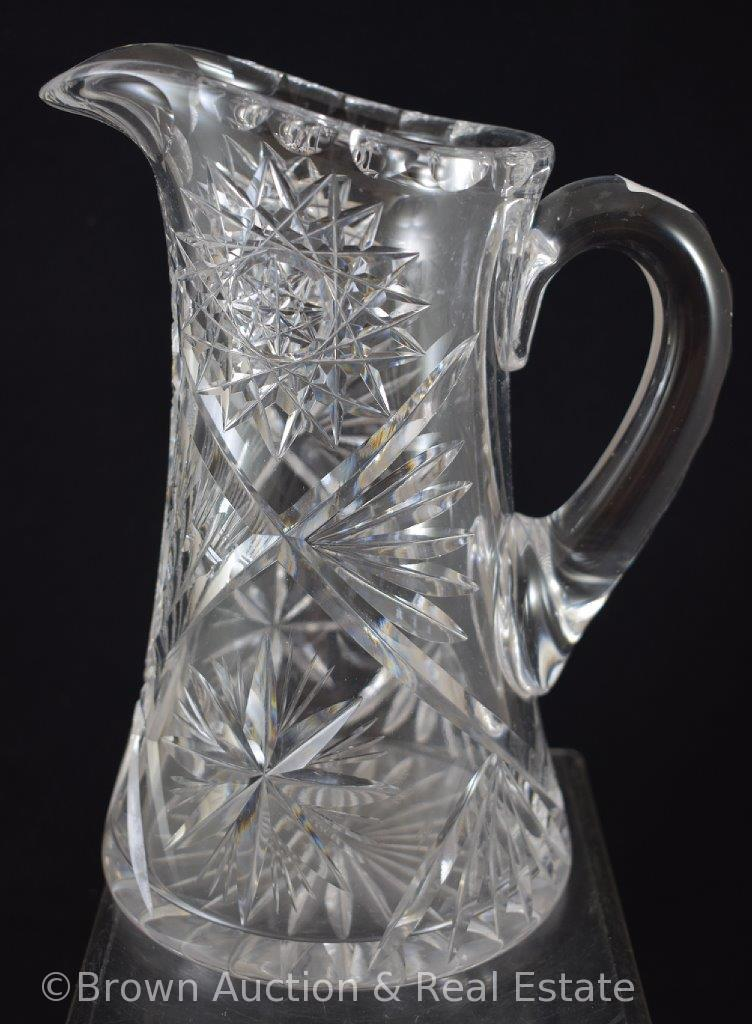 "Cut Glass 9""h pitcher, Hobstars and flashed Stars dominate"