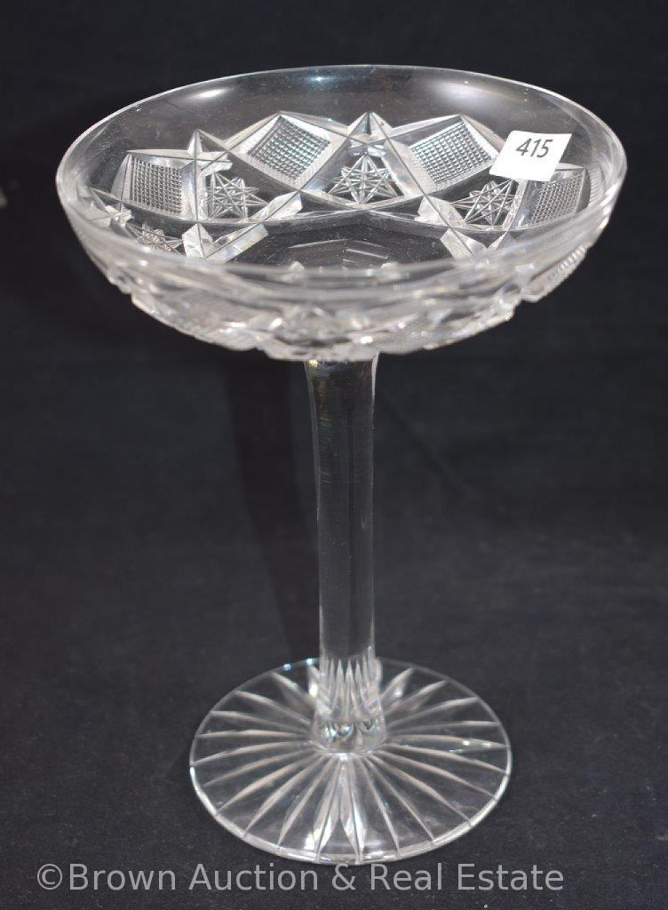 """Cut Glass dainty 6.5""""h compote, Hobstars and Strawberry diamond fields"""