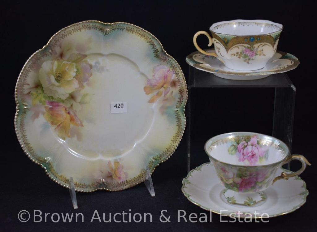 """(3) R.S. Prussia (red mark) pieces incl. 8.25""""d plate and 2-cup and saucer sets"""