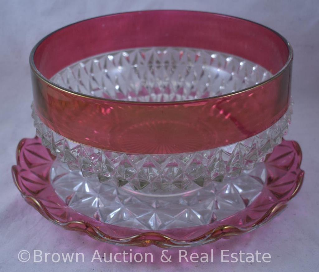 """Indiana Glass Diamond Point ruby-stain 9.5""""d x 5""""h bowl; Ruby-stain 11.5""""d platter"""