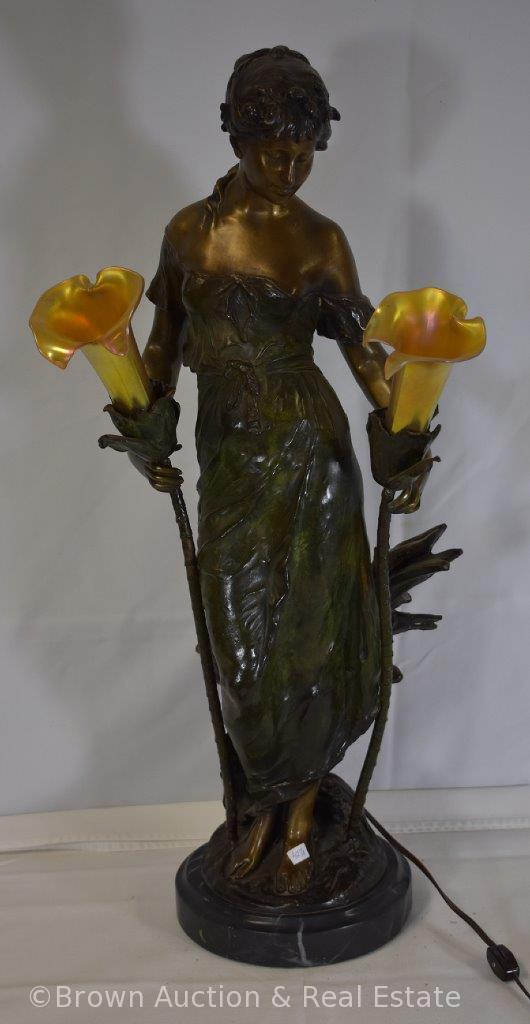 "Maiden lamp by Auguste Moreau, illuminating flowers with translucent shades, 29"" tall, marble base,"