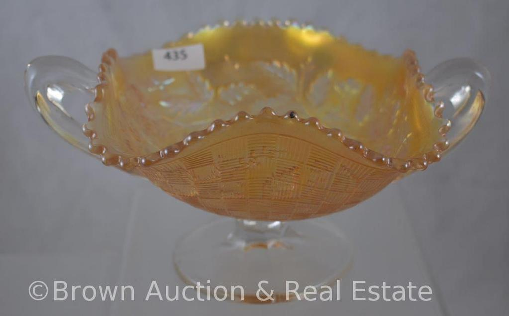 """Carnival Glass Three Fruits/Basketweave 4""""h handled compote, marigold"""