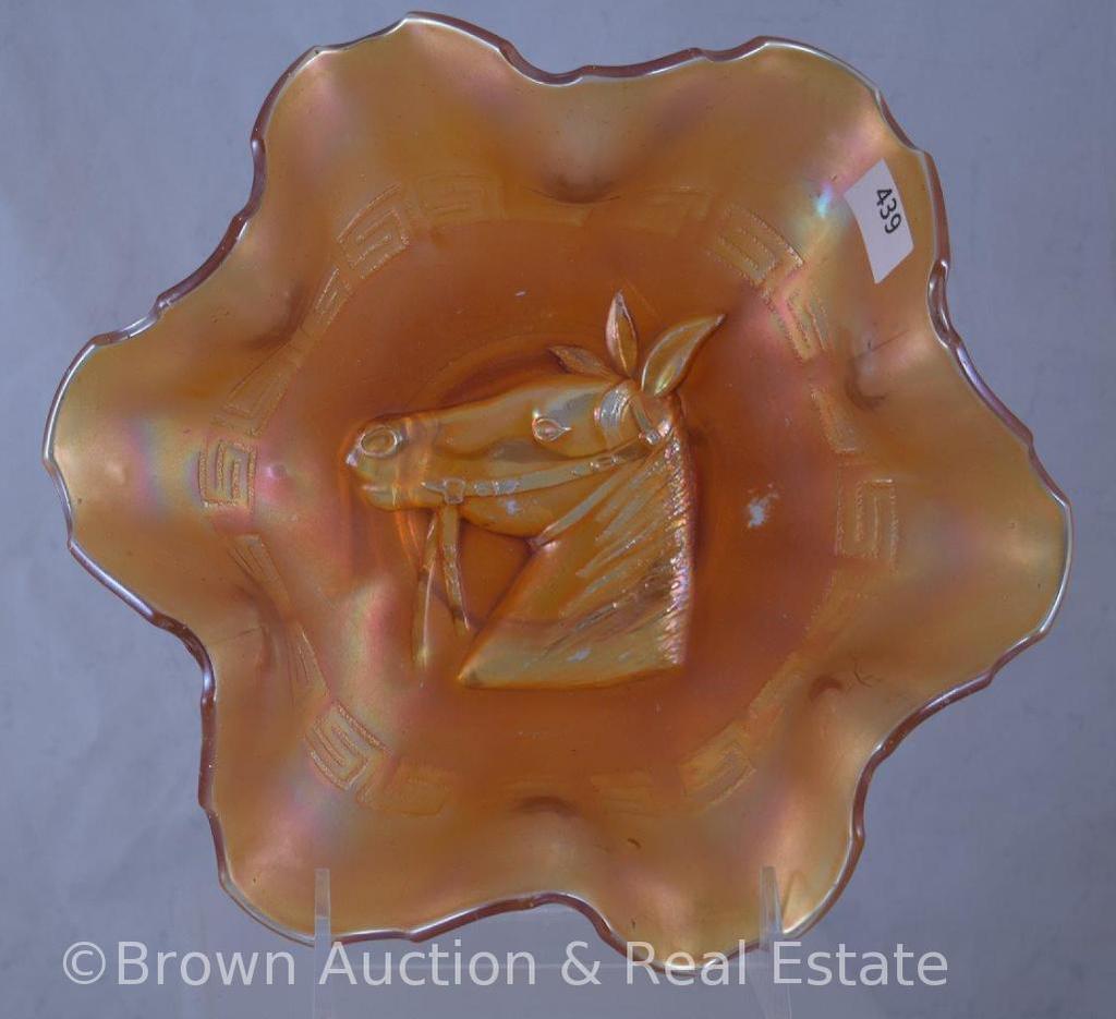 "Carnival Glass Pony 8""d bowl, marigold"