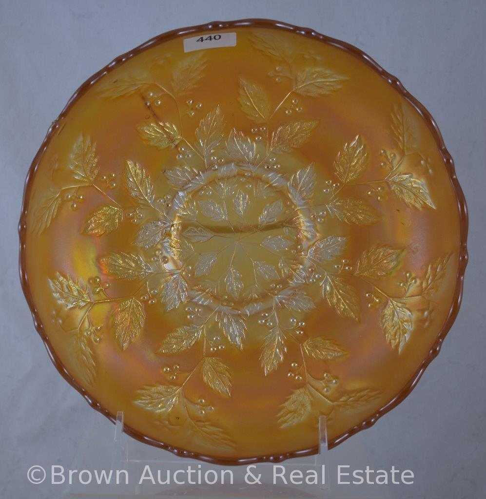 """Carnival Glass Holly 8""""d bowl, marigold"""