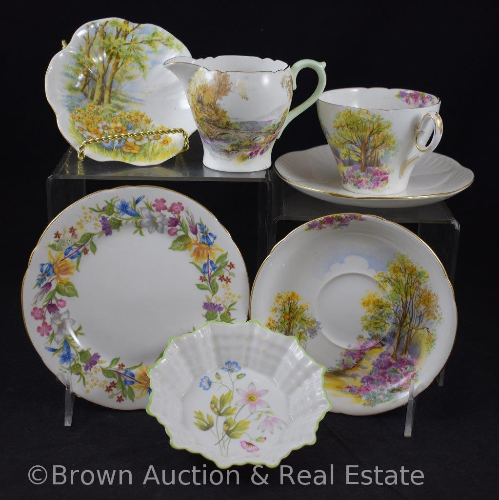 Miscl. Shelley England Bone China pieces incl. cup/saucer set, plate, bowls and creamer